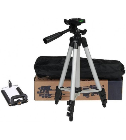 Tripod - 3110 Portable & Foldable Camera & Mobile Stand, High Quality, Easy To Carry, 3-Way Pan Head, 4-Sec Leg, Quick Lever Lock, Rubber Leg Tip, 1020 mm