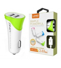 LDNIO Dual USB Car Charger, 3.4 Amp Output, Fast Charger, Cable, White and Green Color