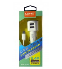 LDNIO Car Charger with Dual USB Port, 3.4 Amp Strongest Output, Cable, White Color