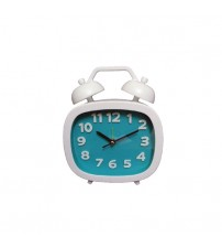 Cute Table Clock, Analog Alarm Clock, Sea Green and White Color