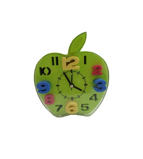 Apple table clock for kid, Analog Alarm Clock, Green Color