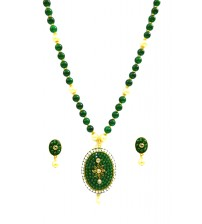 Green Moti Pendent Set, Fashionable Jewelry, Green and Gold Color