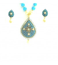 Pendent Set with Earrings, D1-X21, Blue and Gold Color, Fashion Jewelry