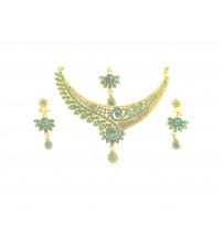 Necklace Set with Maang Tikka, Gold and Green Color, Rama-L, 1222, Special Jewelry