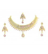 Necklace Set with Maang Tikka, Gold and Pink Color, PK-L, 1089, Special Jewelry