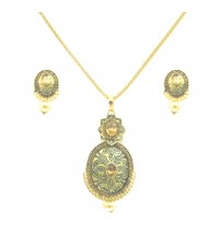 Golden Pendent Set with Earrings, Gold Color with Green Color Crafting, KEP-3872, Fashion Jewelry