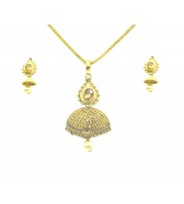 Designer Golden Pendent Set with Earrings, Gold Color, KHP-2667, Fashion Jewelry