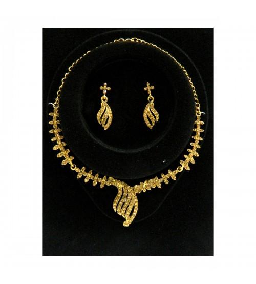 Chandelier Golden Necklace Set Studded With Golden Color American