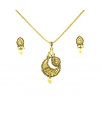 Golden Pendent Set with Earrings, Gold Color, KHP-2669, Fashion Jewelry