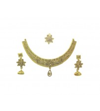 Necklace Set with Maang Tikka, Golden Color, FL, 9999, Special Jewelry