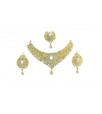 Necklace Set with Maang Tikka, Gold and White Color, GW, 13131, Special Wedding Jewelry