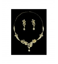 Chandelier Necklace Set with Golden Base Studded With White American Diamond, Attractive to Wear, New Fashion Design