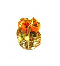 Rajasthani Ladies Potli, Handbags Ethnic Zari Zardozi and Mirror Work on Fabric, Orange Color