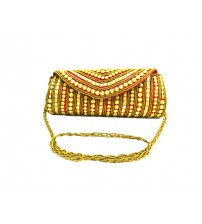 Ladies Designer Bag, Zari Zardozi Work with Golden Color, Bridal Bag, Red Color