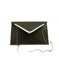 Ladies Envelop Bag with Chain, Leather Bag, Brown Color