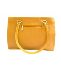 Fragrance Quality Leather Ladies Hand Bags, Prefect Design, 2 Compartments, Mustard Color