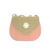 Ladies Designer PU Leather Bag, Jute Texture, Pink and Light Brown Color