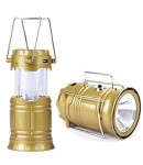 Solar Lantern and Torch, Solar Lamp, 2 in 1 Recharging Emergency Light, USB Mobile Charging, Solar LED Lamp, Golden Color