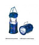 Solar Lantern and Torch, Solar Lamp, 2 in 1 Recharging Emergency Light, USB Mobile Charging, Solar LED Lamp, Blue Color