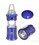 Solar Lantern with Disco Lights and Torch, Solar Lamp, 3 in 1 Recharging Camping Lights, Solar LED Lamp, Blue Color