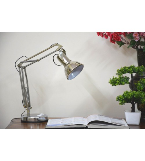 Stainless Steel Table Lamp, Long Arm Lamp for Study or Office Uses, Silver Color