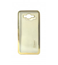 Samsung J7 Mobile Phone Back Cover, Transparent with Gold Printed, Gold Color