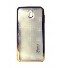 Samsung J7 Pro Mobile Phone Back Cover, Transparent with Gold Printed, Gold Color