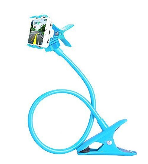 Universal Flexible Long Arm Mobile Phone Holder Stand with Clipper for home, office, car, travel, Blue Color