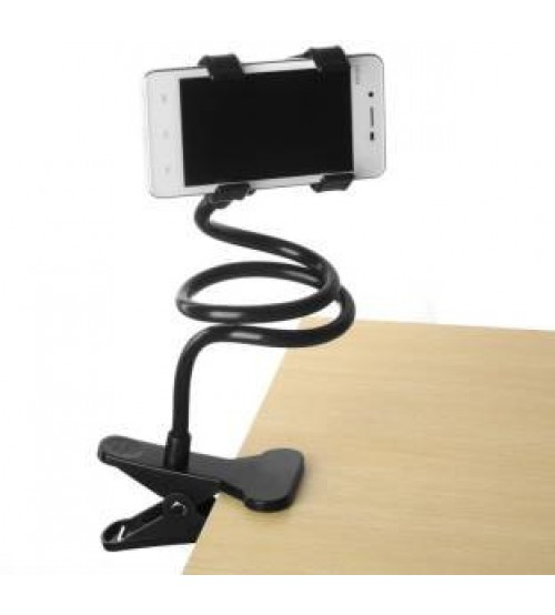 Universal Flexible Long Arm Mobile Phone Holder Stand with Clipper for home, office, car, travel, black