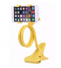 Universal Flexible Long Arm Mobile Phone Holder Stand with Clipper for home, office, car, travel, Yellow Color
