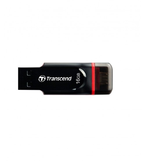 Transcend JetFlash 340, 16 GB, USB 2.0, OTG Flash Drive, Black