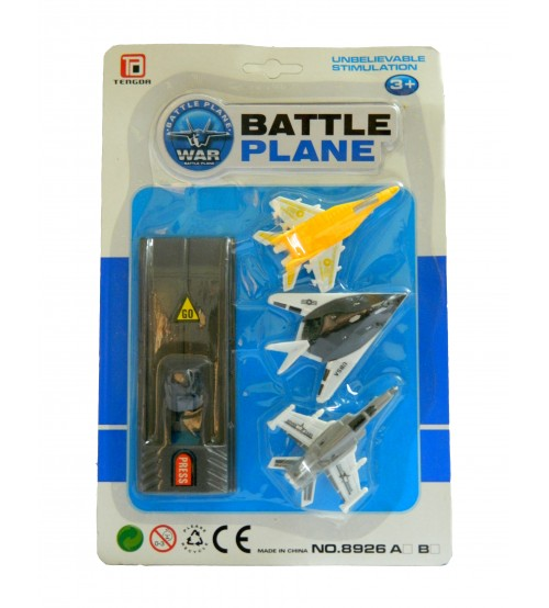 Tengda Battle Plane Kid Toys, 3 War Plane, 1 Runways, Multi-Color, Age: 3 Years and Above