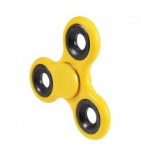 Fidget Hand Spinner, Tri-Spinner, Stress Reliever, Dark Yellow Color, Black Rim