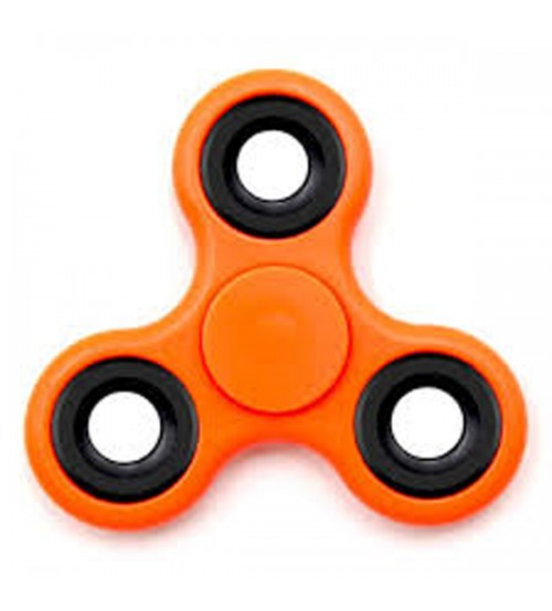 Fidget Spinner, Tri-Spinner, Stress Reliever, Orange Color, Black Rim