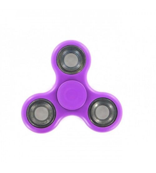 Fidget Spinner, Tri-Spinner, Stress Reliever, Purple Color, Silver Rim