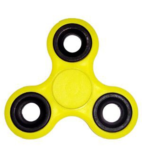 Fidget Hand Spinner, Tri-Spinner, Anti Stress, Yellow Color, Black Rim