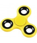 Fidget Hand Spinner, Tri-Spinner, Anti Stress, Yellow Color, Silver Rim