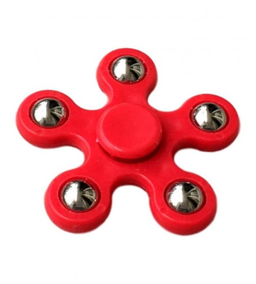 Fidget Hand Spinner, Five Side, Anti Stress, Play-N-Fun, Red Color, Silver Ball