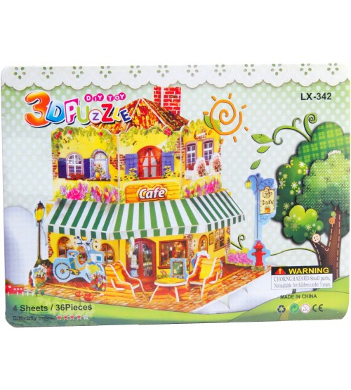 3D Puzzle Café for Kids, Assembling Sheet, 36 pieces, Attractive Show Piece