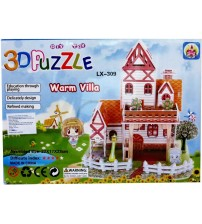 3D Warm Villa Castle for Kids, Assembling Sheet, Attractive Show Piece