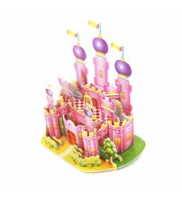 3D Puzzle Pink Castle for Kids, Assembling Sheet, Attractive Show Piece
