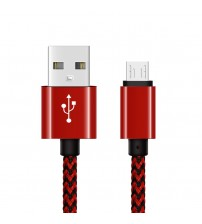 Nylon Surface USB Data Cable, Full Speed Android Series USB Connector, Red Color