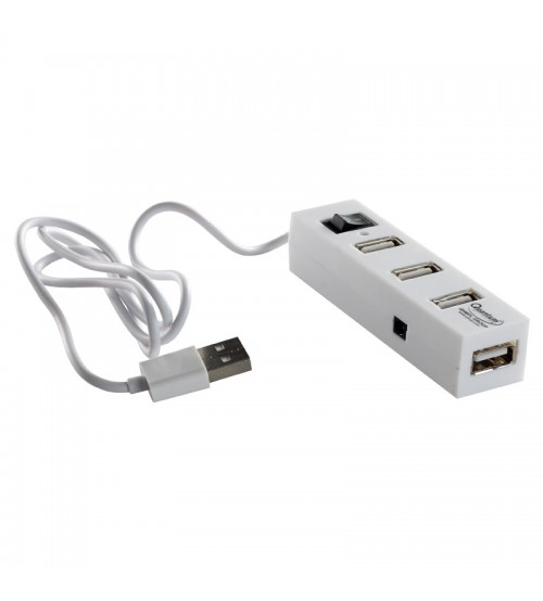 QHMPL 4 Port USB Hub, USB 2.0 High Speed 480 MBPS, QHM6660, 100% Genuine, White Color
