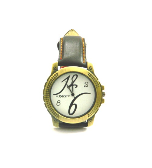 Race Stylish Look Wrist Watch, Suitable for Gents and Boys, Gold Ethnic Dial, White Background Display