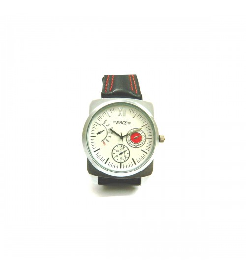 Race Wrist Watch for Gents and Boys, Silver Dial in White Background