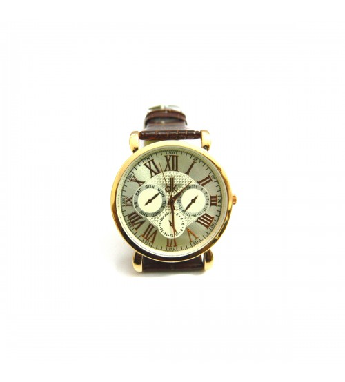 dk Gents Wrist Watch with Leather Belt, Gold Color Dial, Light Golden Background Display