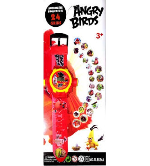 Angry Birds Digital Watch with 24 Image Projector, Kids and Children Watch, Red Color (Assorted Design)