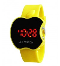 Apple Shape Dial Digital LED Watch, Kid Watch, Battery Operated, Yellow Color