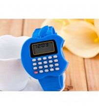 Apple Shape Digital Watch With Calculator, Kids Fashion Watch, Blue Color