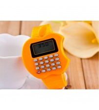 Apple Shape Digital Watch With Calculator, Kids Fashion Watch, Orange Color
